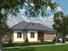 Проект индивидуального одноэтажного жилого дома с террасой и гаражом